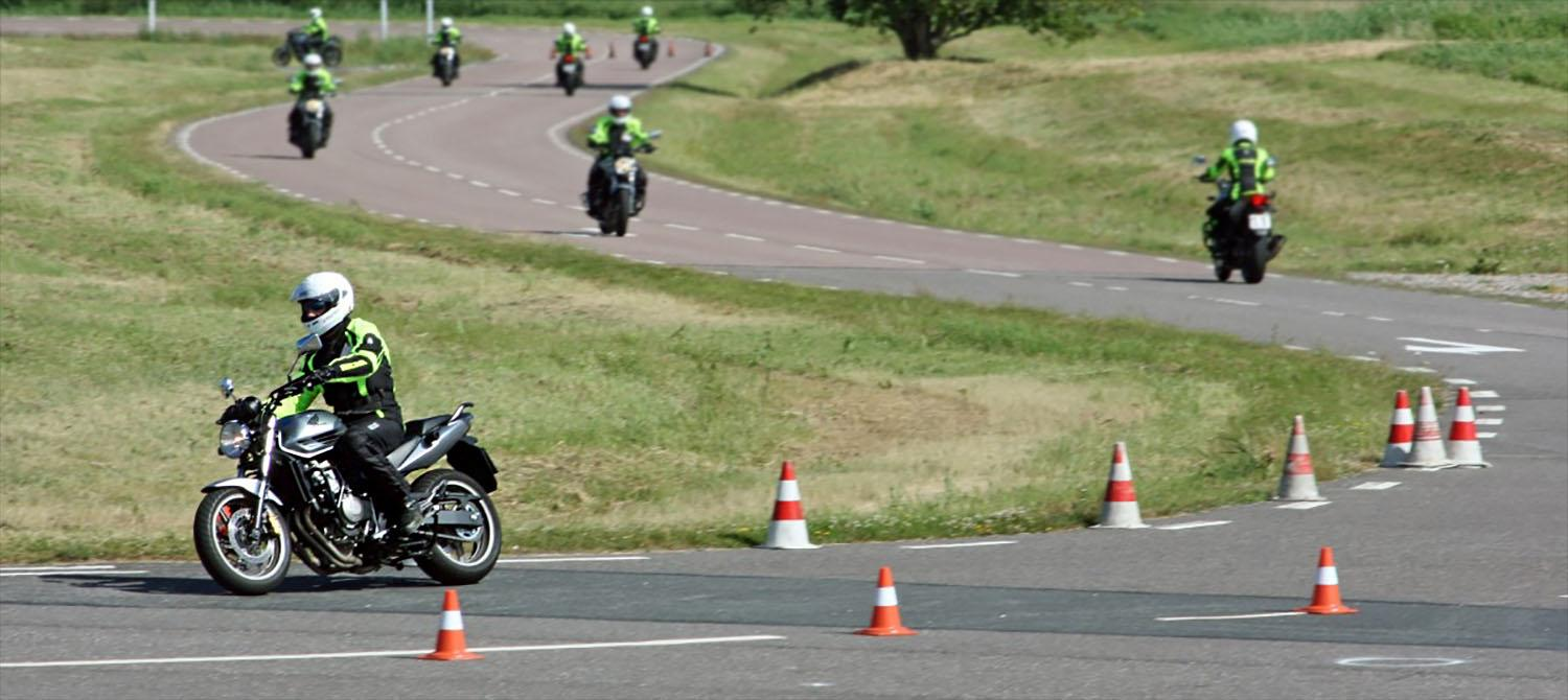 Motorcycists on training course