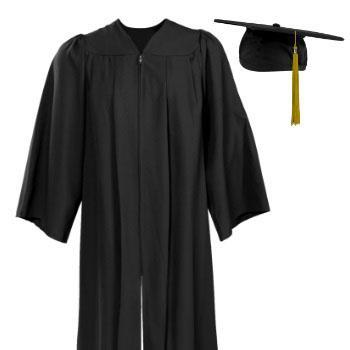 photo of a graduation cap and gown