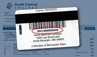 Photo of back of library card indicating where number is located