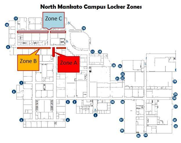 Map of locker locations on the North Mankato campus