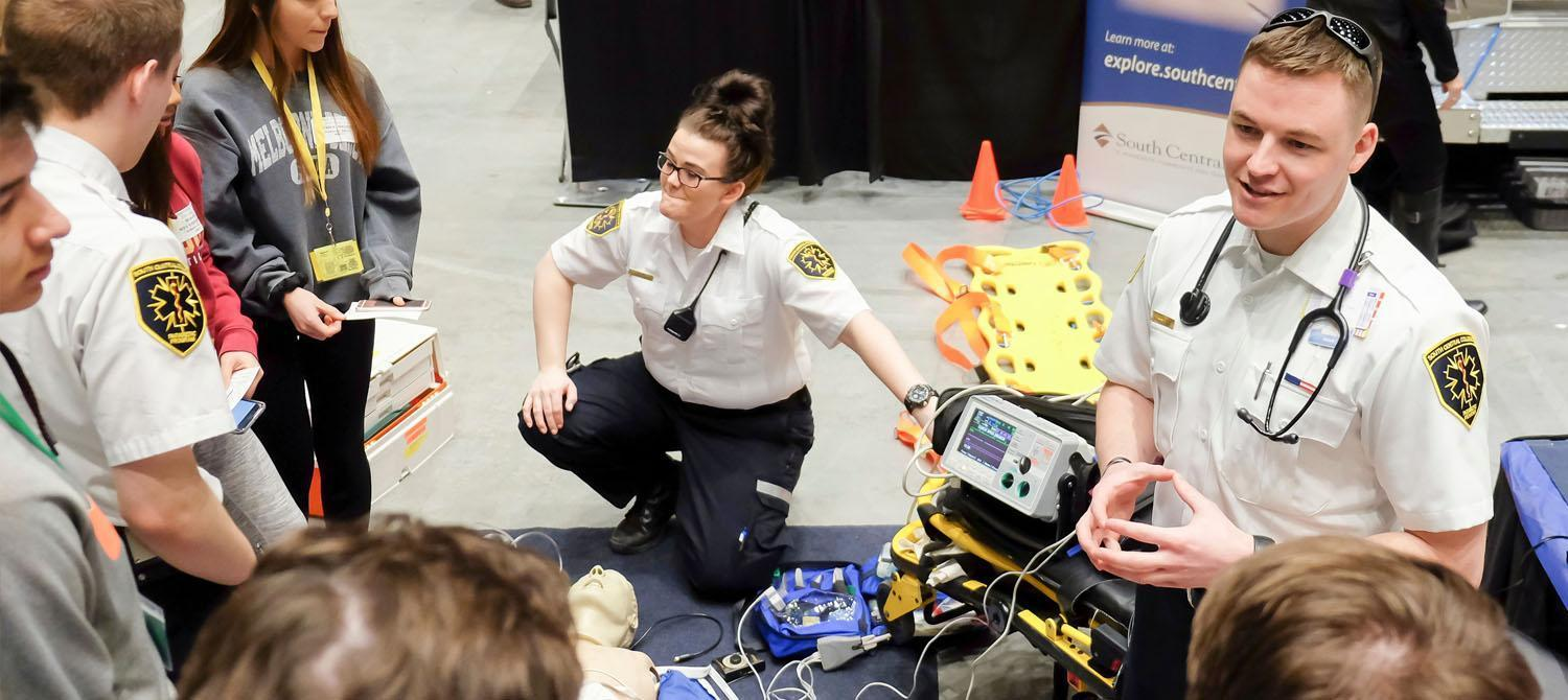 Photo of EMT student conducting a demonstration